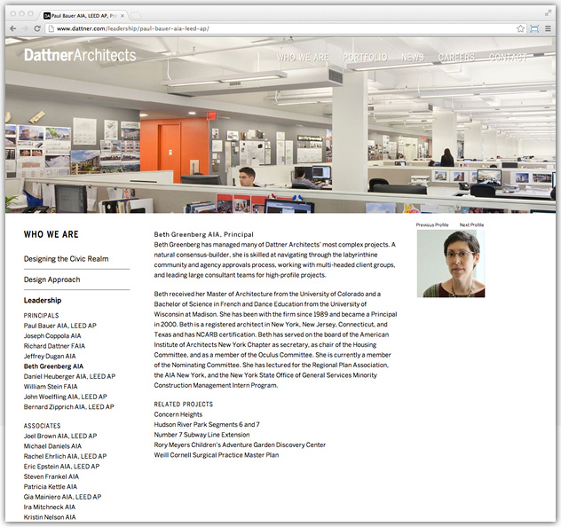 Dattner architects website design wyman projects graphic for Design strategy firms nyc